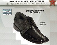 Los Altos Men's Style #1 Stingray Rowstone w/ Ostrich Lace Up Dress Shoes