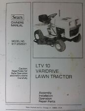 Sears LTV/10 Lawn Garden Riding Tractor & Mower Owner & Parts Manual Craftsman11