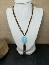 Cookie Lee Copper Seed Bead and Blue Opalite Sautoir Necklace