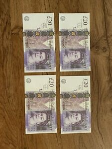 Lot of 100 British Pounds No Reserve Price Great For Any Collection 4x 20 pounds