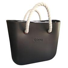 O bag Graphite Rubber Tote Bag Zebra Inner White Rope Handles NEW RRP £80