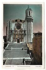 Fachada De La Catedral - Gerona Real Photo Postcard c1930s / Spain