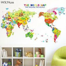 Sticker Kids Nursery Room Home Decor Animals World Map Wall Decals Removable MAP