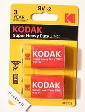 PP3 6F22 - heavy duty - 2 x KODAK 9 VOLT ZINC CHLORIDE BATTERIES *exp. 2022