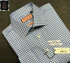 THOMAS PINK NWT$195 SLIM FIT KILMORAY CHECK FRENCH CUFF DRESS SHIRT EUR39 US15.5