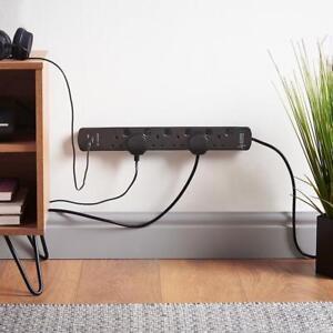 6 Way Power Surge Protector Socket Black Multi Plug Extension Lead USB Ports