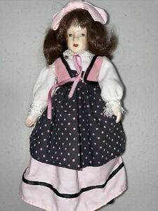 "Russ Porcelain Face Hands Cloth Girl Doll 8"""