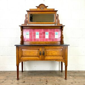 Antique Edwardian Oak and Marble Washstand (M-3018) - FREE DELIVERY*