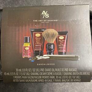 The Art of Shaving sandalwood Travel Kit Morris Park Razor Bag Shave Cream NEW