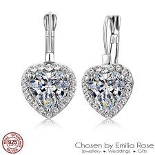 925 Silver Cubic Zirconia Heart Rhinestone Hoop Drop Earrings Bridesmaid Jewelry