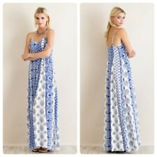 Entro Women Maxi Dress Printed Boho Spaghetti Strap Summer Sundress Blue White L