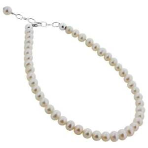 """Made with Swarovski Elements Freshwater Pearl 925 Silver 9 to 10"""" Ankle Bracelet"""