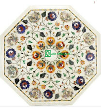 22'' white marble coffee center table top decorative inlay malachite h22