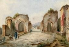 19th Old Master Drawing - Dessin Ancien Original - Pompei, Italy, Ruines