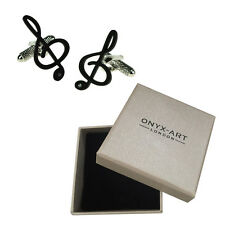 Mens Treble Clef With Crystal Musician Cufflinks & Gift Box By Onyx Art