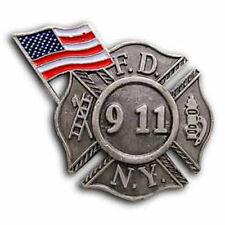 Commemorative Fire Department New York FDNY 9/11 Pin WTC Remembrance w/ USA Flag