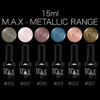 MAX 15ml Nail Art Soak Off UV LED Lamp Gel Nail Polish - Metallic Range
