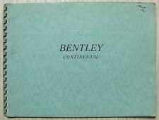 BENTLEY S2 CONTINENTAL LF Sales Brochure c1960 MULLINER Park Ward JAMES YOUNG