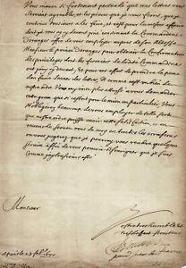 Jacques de SOUVRÉ - Grand Prieur de France.   Lettre signée. 1670
