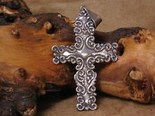 Large Art Nouveau Sterling Silver Cross Pendant