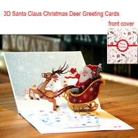 3D Pop Up Card Santa Claus Christmas Deer Holiday Christmas Greeting Cards Gift