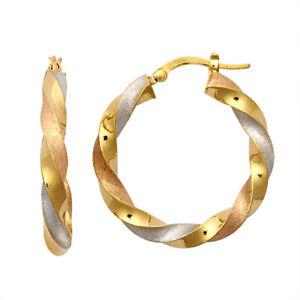 9ct Three Colour Gold Satin Twist Hoop Earrings 28mm *Brand New*
