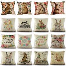 Easter Flowers Vivid Rabbits Throw Pillow Case Linen Bunny Cushion Cover Decor