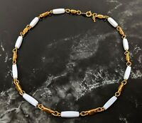 Vintage Gold-tone Link Chain White Tone Beaded Necklace Jewellery by Trifari