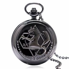 Vintage Gray Fullmetal Alchemist Vintage Pocket Watch Quartz Necklace Pendant