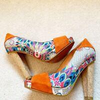 Desigual Suede Cork Heels Sz 6 (36) Women Open Toe Shoe Orange Blue