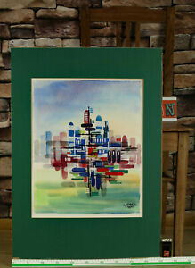 Grey Or G. Rey Watercolour 1971 City View Abstract Architecture Futuristic 2