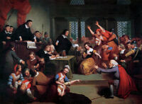 """handpainted oil painting  """"Trial of George Jacobs, August 5, 1692""""@NO3441"""