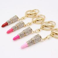 Crystal Lipstick Keyring Keychain Charm Pendant Bag Purse Car Key Chain Gift