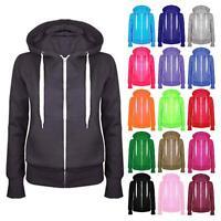 Womens Plain Colour Hoodie Sweatshirt Ladies Zip Up Fleece Jacket Hooded Tops