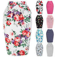 Plus Size Vintage 50s High Waist Stretch Bodycon Dress Floral Midi Pencil Skirt