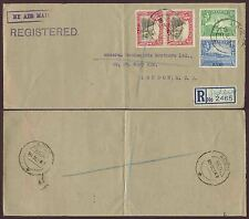 ADEN 1947 REGISTERED AIRMAIL HANDSTAMP to GB 1R + 1A + 3A x 2