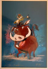 Disney TIMON & PUMBAA Print HAND SIGNED Artist Eric Robison 100 Mickey Mouses