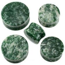 "1 Pr GIANT 7/8"" Green Agate Stone Saddle Plugs Ear 22mm Double Flare Organic"
