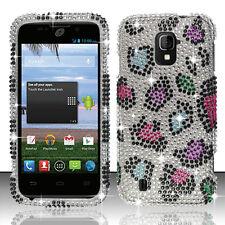 Straight Talk ZTE Majesty 796C Crystal Diamond BLING Hard Case Rainbow Leopard