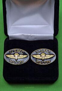 Marine Corps RECON Cuff Links in Presentation Gift Box -USMC Recon cufflinks