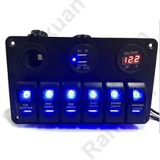 6 GANG Aluminium BLUE LED ROCKER SWITCH PANEL CIRCUIT BREAKER CAR RV BOAT MARINE