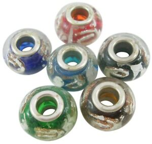 50x Mixed Colors Silver Foil Glass Beads w/ Goldsand Inside European Jewelry USA