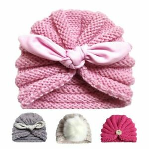 Baby Hat Knitted Winter Girls Bonnet Beanie Turban Newborn Cap Boys Accessories