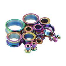 "PAIR-Titanium Rainbow Screw On Tunnels 16mm/5/8"" Gauge Body Jewelry"