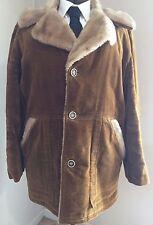 Men's 70's Crushed Tan Corduroy Coat Jacket Shearling Liner 40 Niagara USA