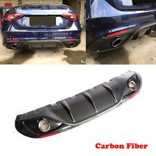 For Alfa Romeo Giulia 17-19 Rear Diffuser Lip Spoiler With Exhaust Tips Carbon