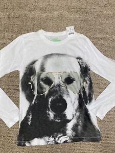 Crewcut kid boy long sleeve graphic top tee Golden Retriever Dog Glasses 10 Nwt