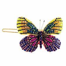 USA BUTTERFLY Hair Clip Hairpin use Swarovski Crystal Elegant Multi Color B-7