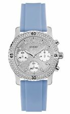 Guess Baby Blue Silicon Strap Silver Tone Ladies Watch 40mm U1098L3