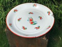 Large Vintage Retro Indian Tata Steel Enamel Plate Dish Tray Charger Floral 45cm